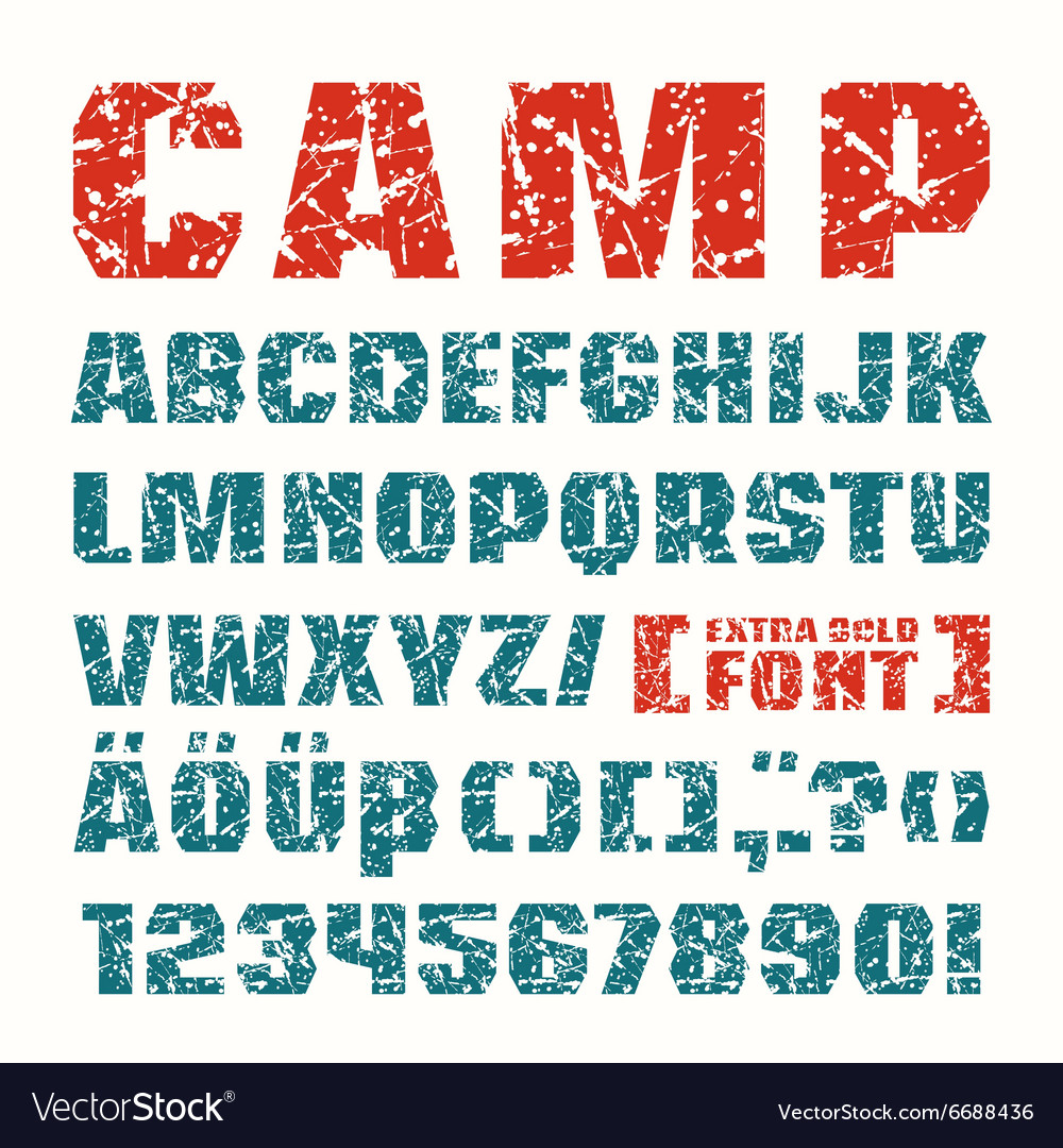 Sans serif font in military style vector