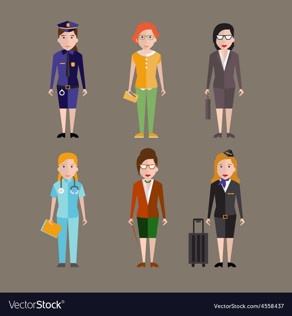 Different people professions characters vector