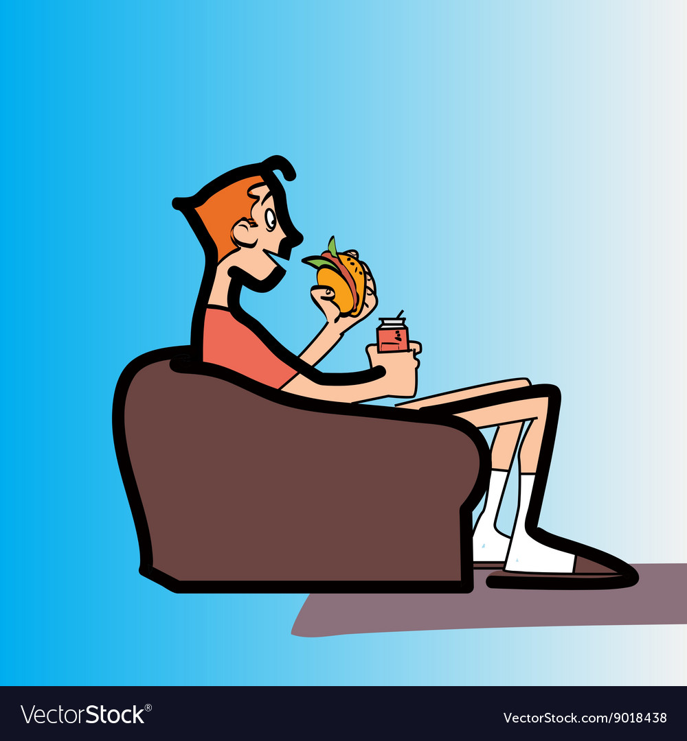 Teen boy on the couch eating fast food vector