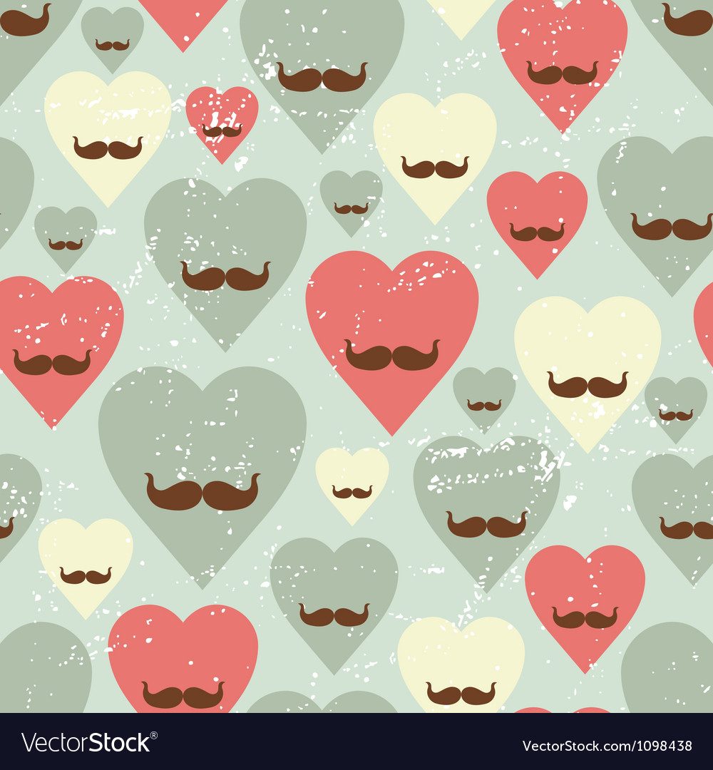 Valentine seamless pattern with heart and mustache vector