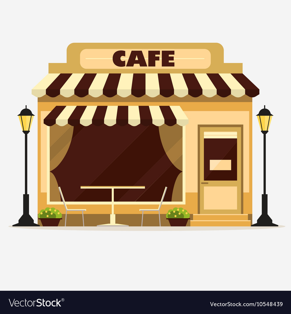 Cafe street shop facade vector