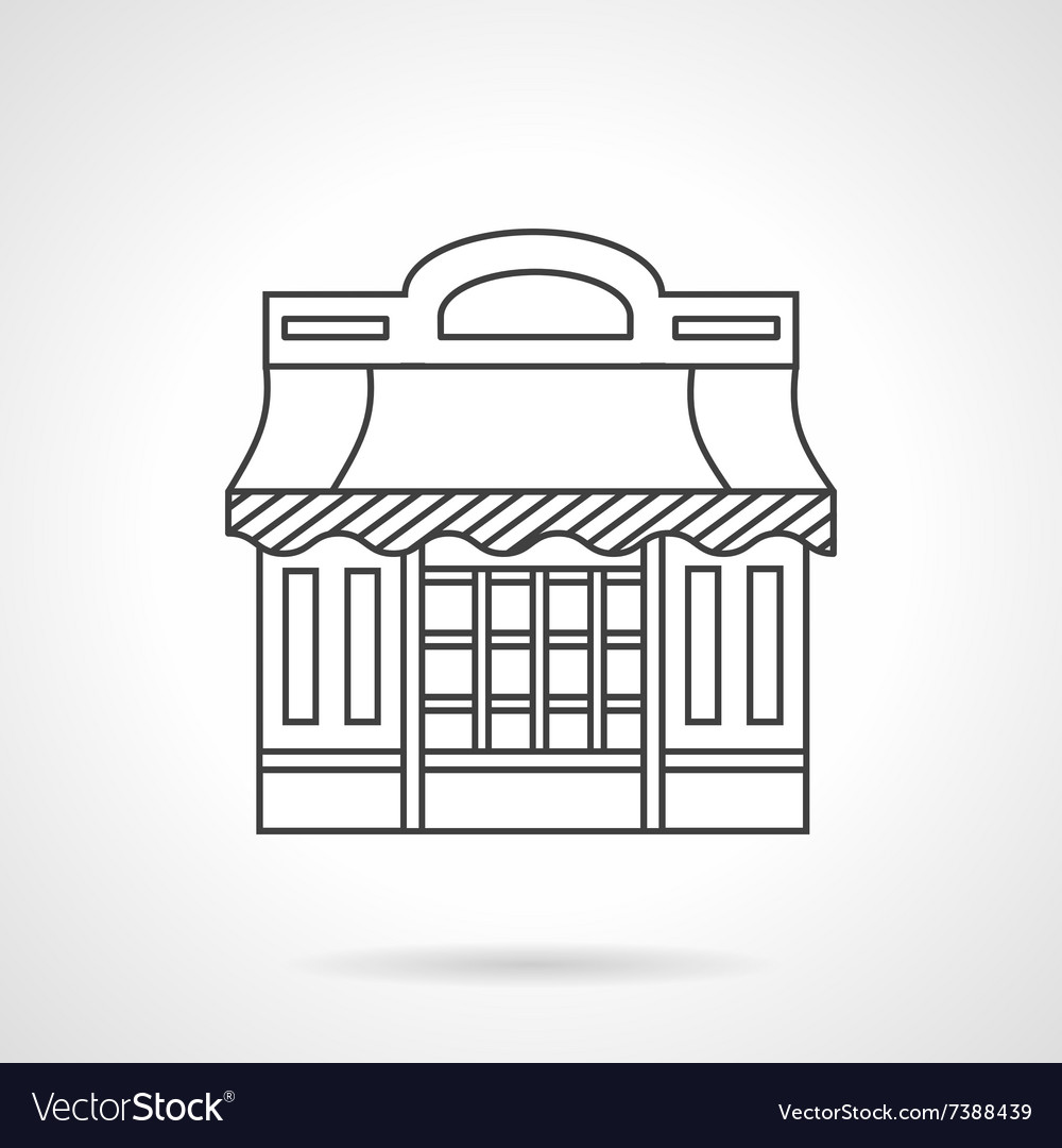 Cafeteria storefronts flat line icon vector