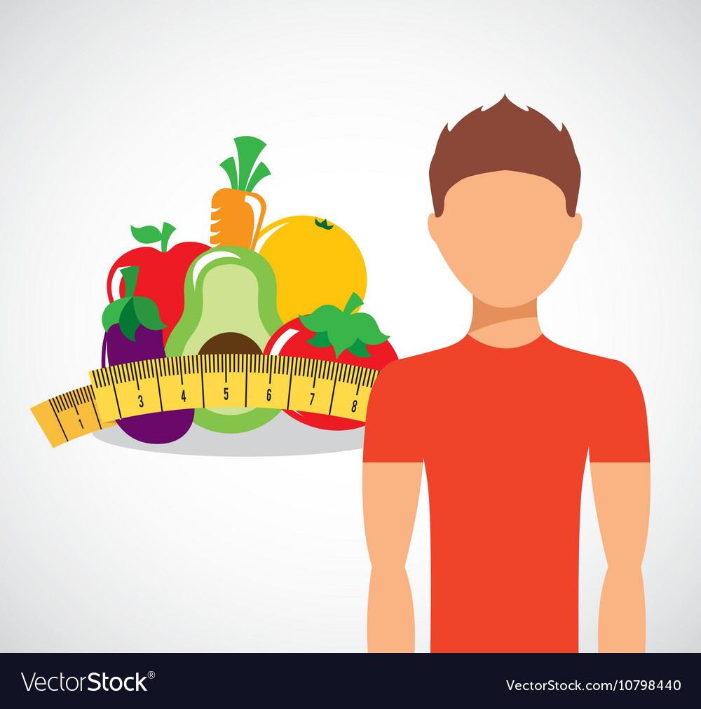 Man with fruit icon design vector