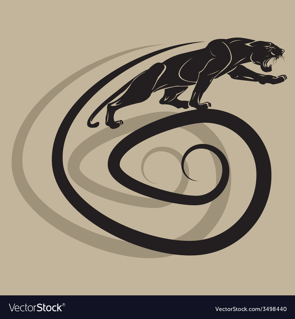 Silhouette of a black panther on a spiral vector