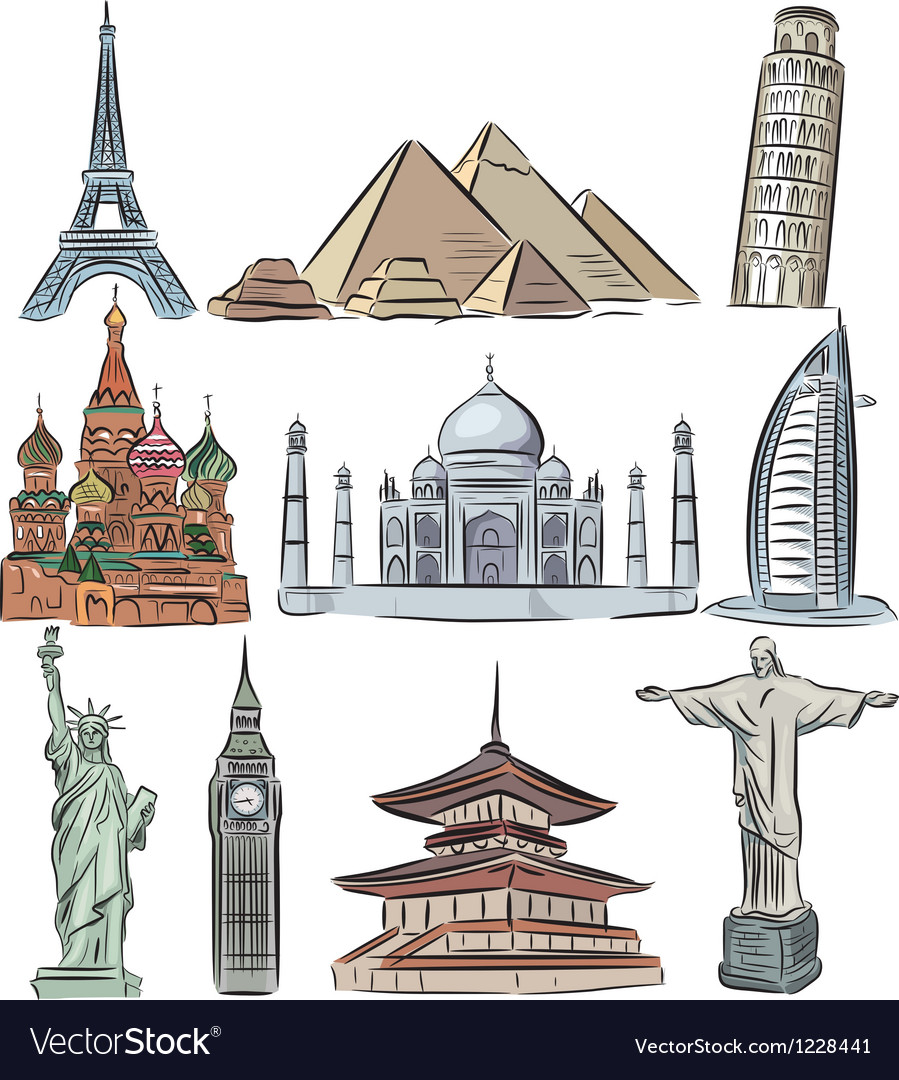 Architectural wonders of the world collection vector