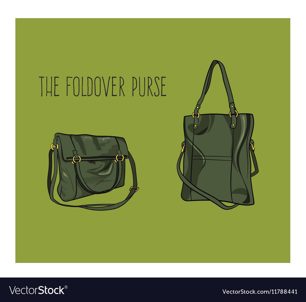 Bag the foldover purse vector