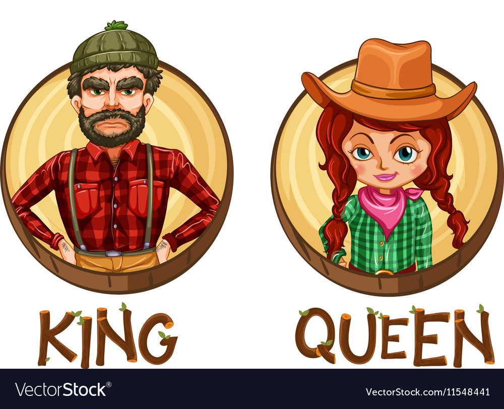 King and queen characters on round badges vector