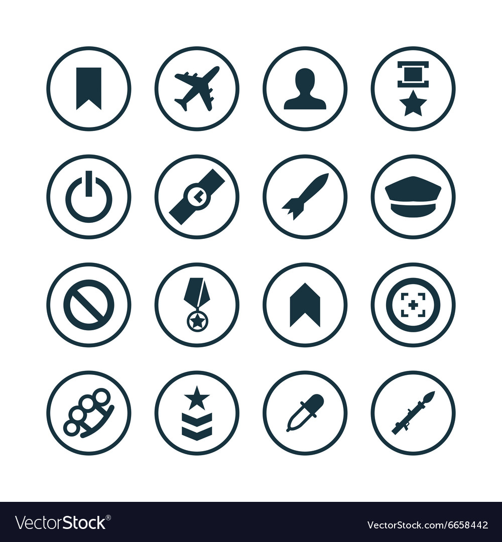 Army icons universal set vector