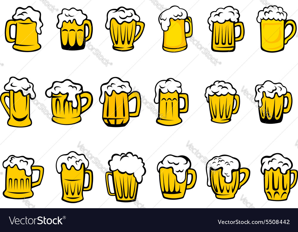 Beer mugs and tankards with froth vector