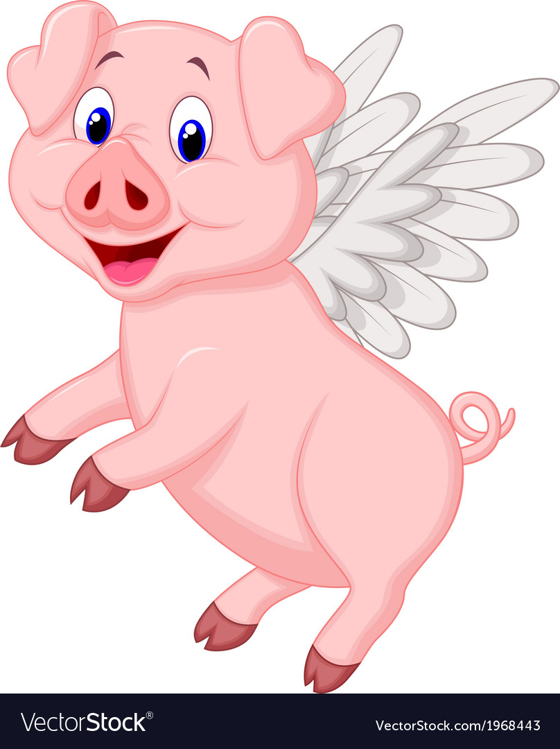 Cute pig cartoon flying vector