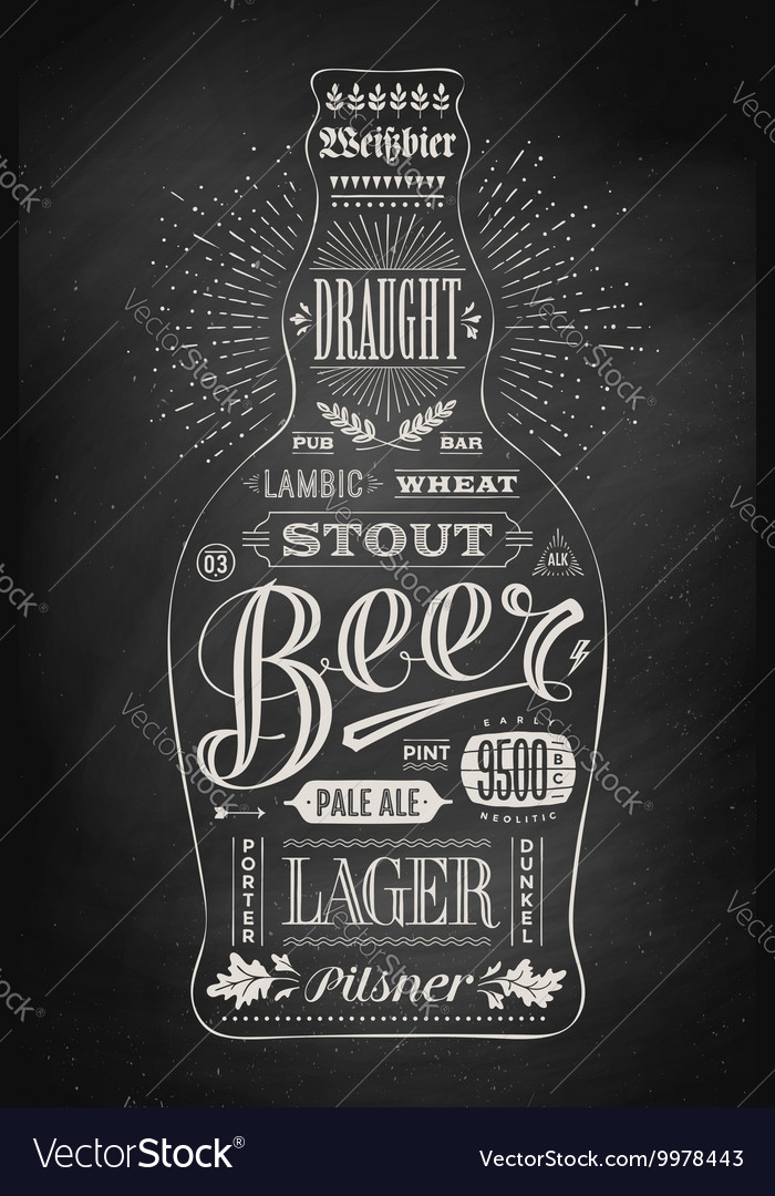 Poster bottle of beer with hand drawn lettering vector