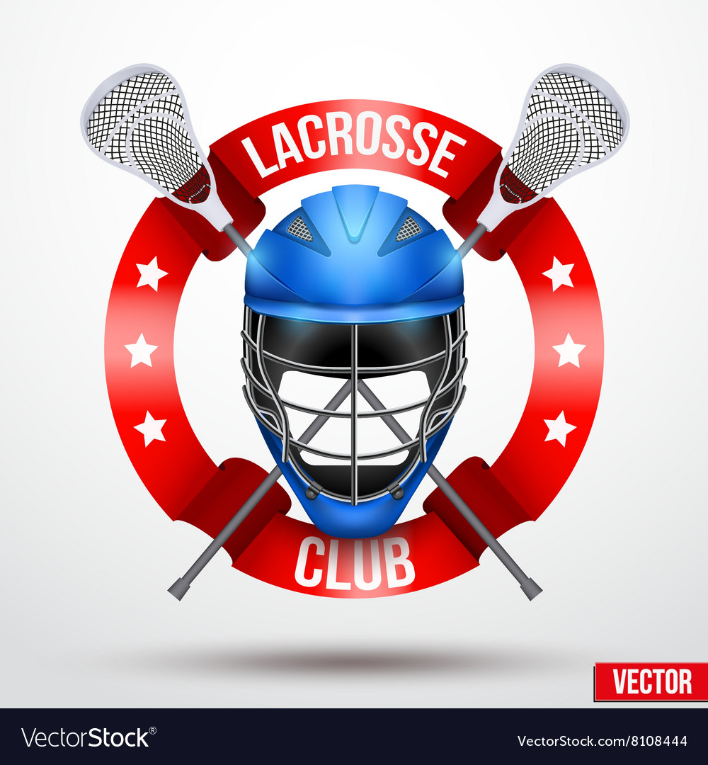 Lacrosse sticks and helmet with ribbons vector