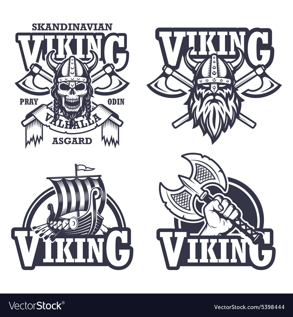 Set of viking emblems vector