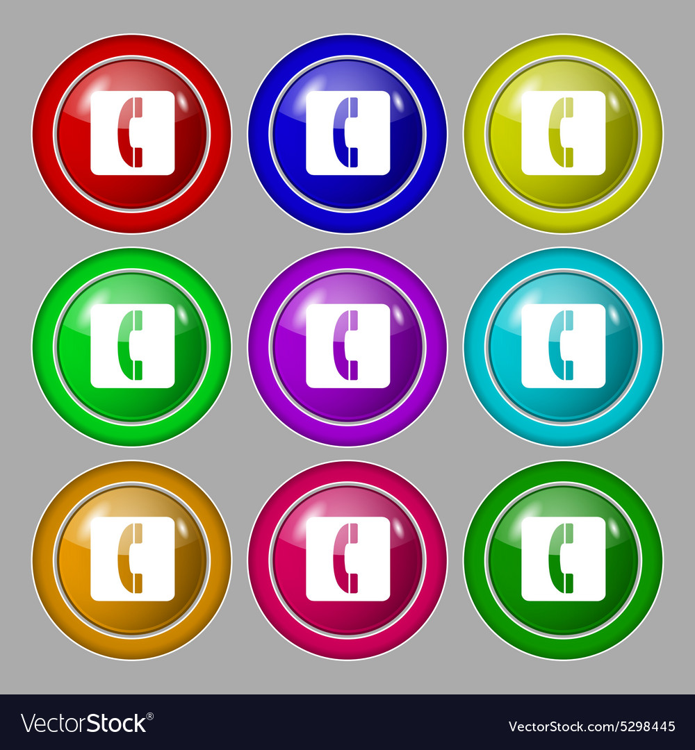 Handset icon sign symbol on nine round colourful vector