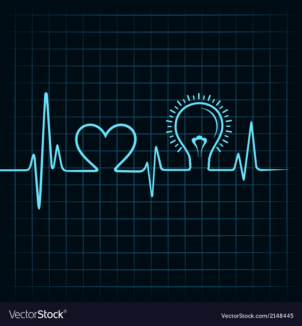 Heartbeat make heart and lightbulb vector