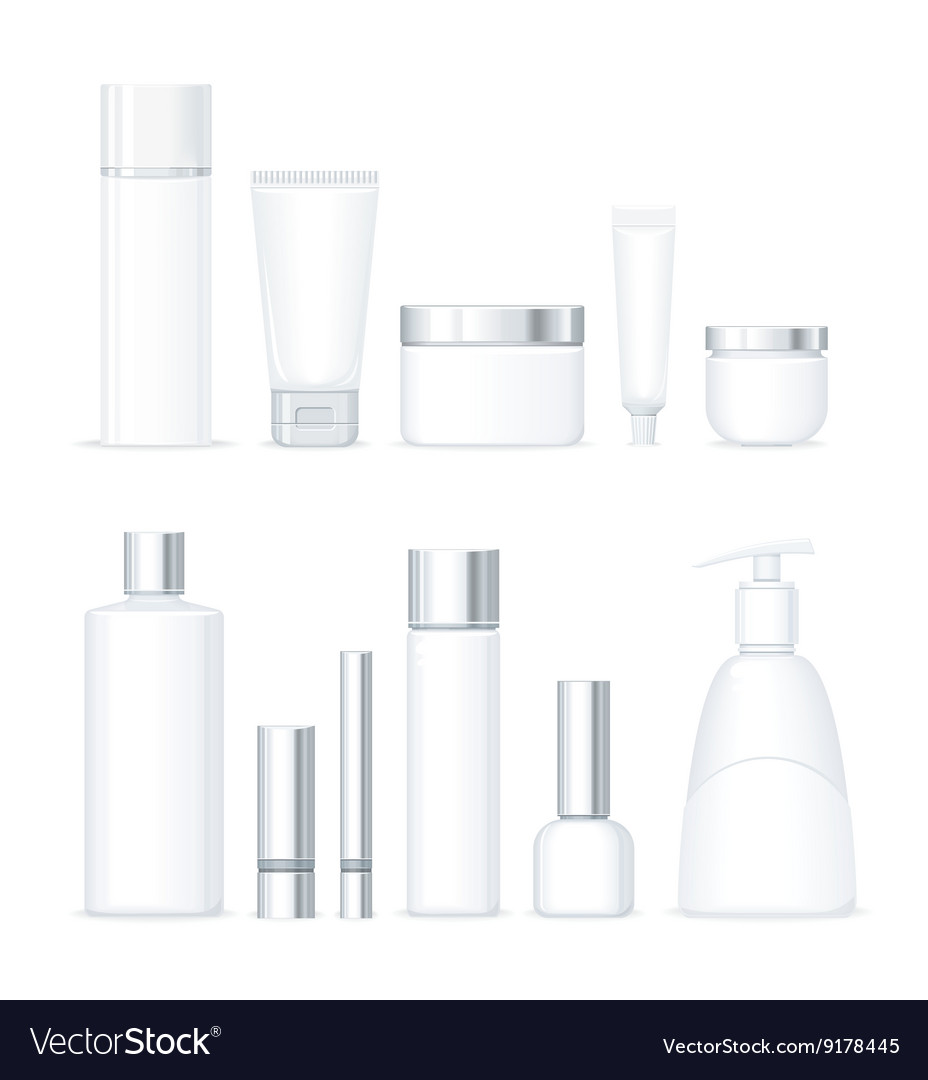 Set of bottles for cosmetics isolated vector