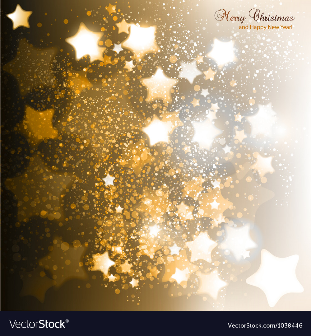 Elegant christmas background with golden stars vector