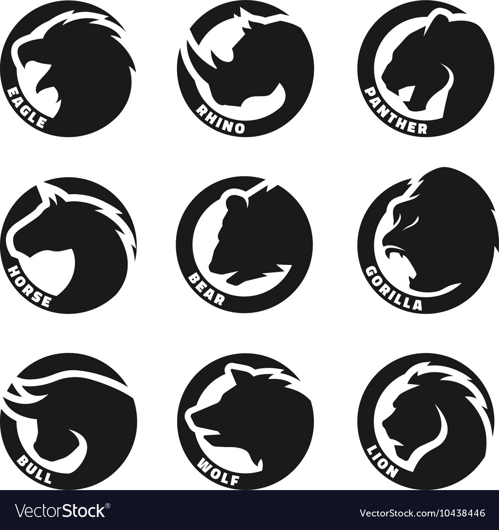 Set monochrome animal logos vector