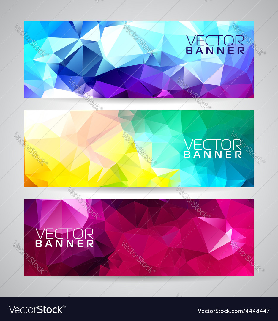 Geometric triangles banner background set vector
