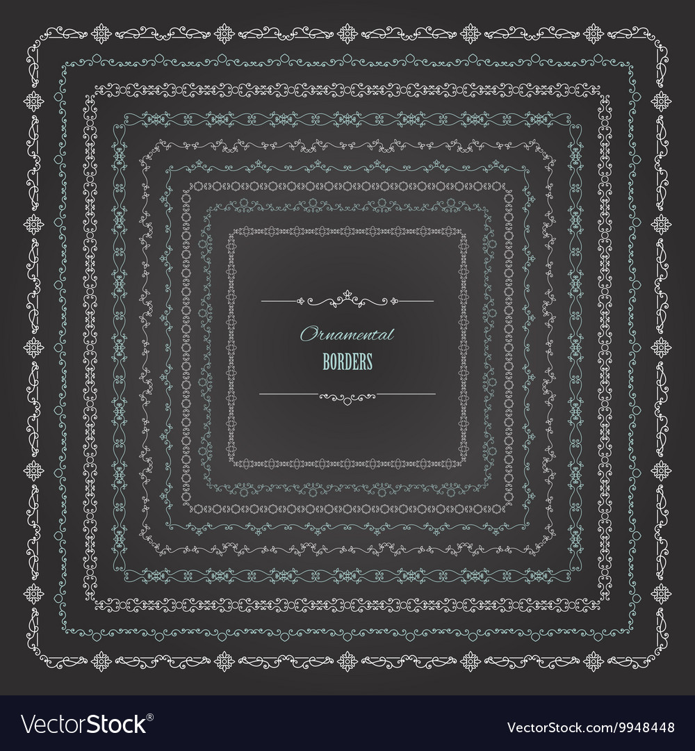 Ornamental square borders set on chalkboard vector