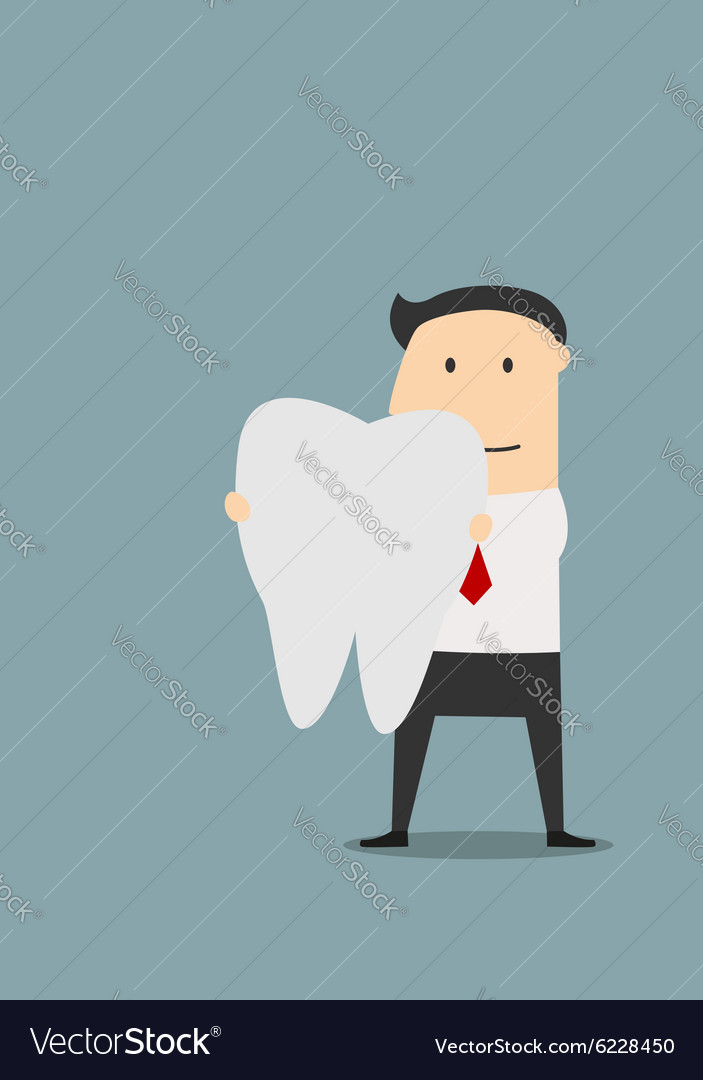 Businessman holding a large white tooth vector