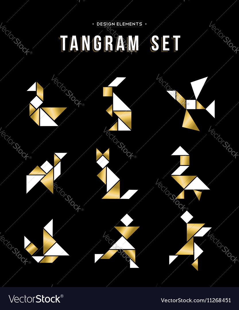 Classic tangram game icon set in gold color vector