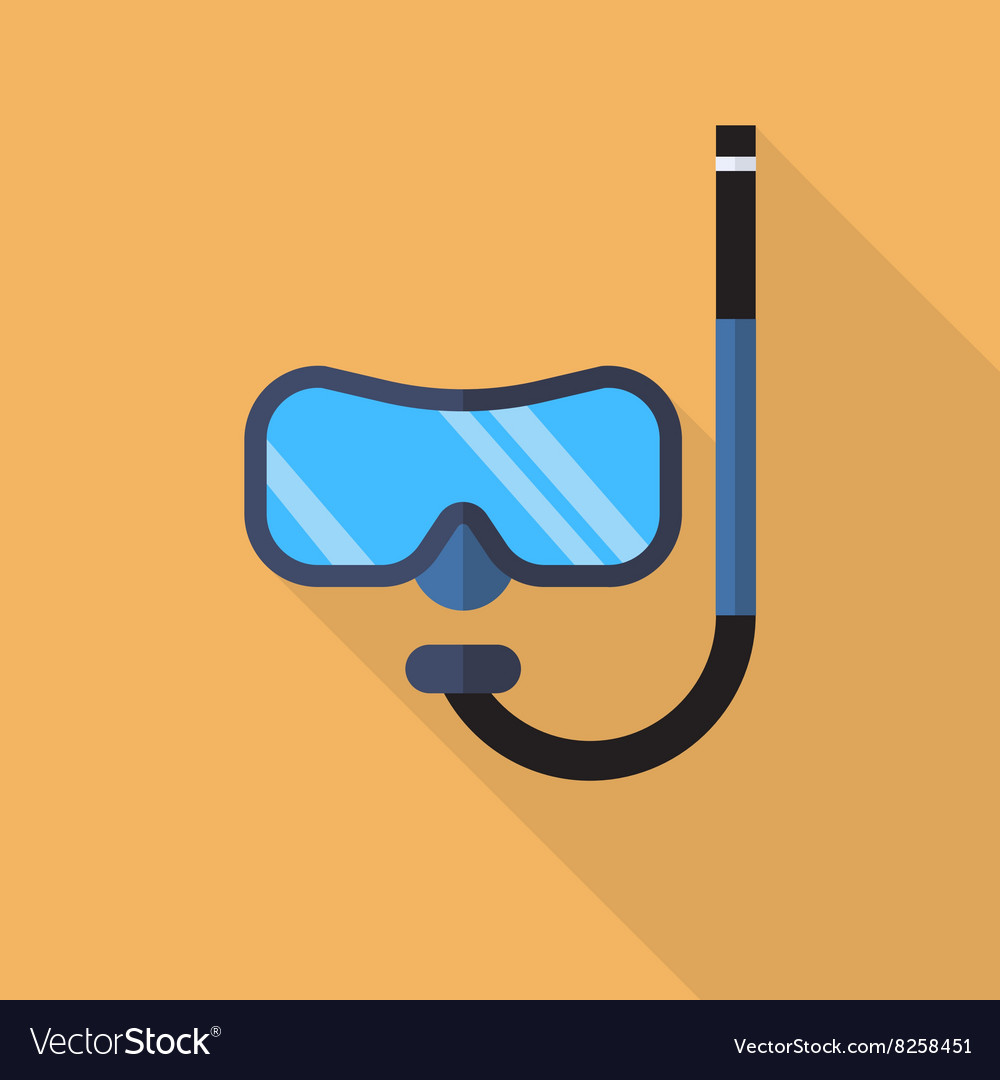 Diving mask with snorkel flat icon vector