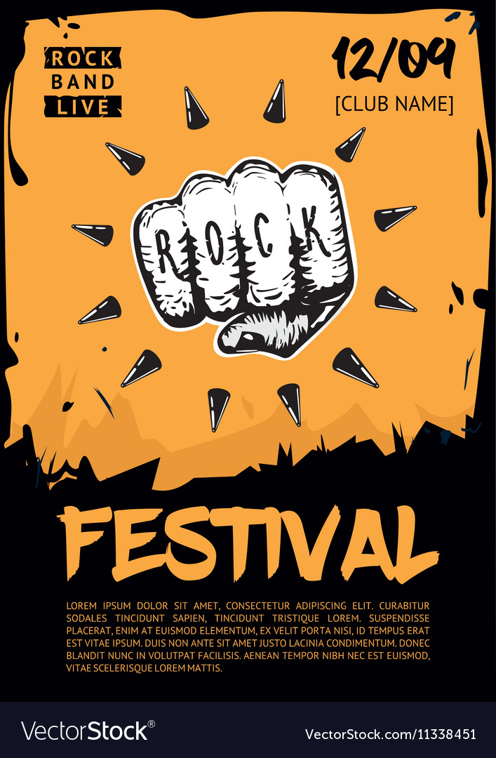 Music poster template for rock concert hand with vector