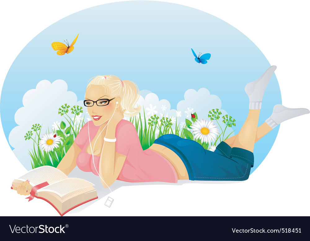 Reading woman vector