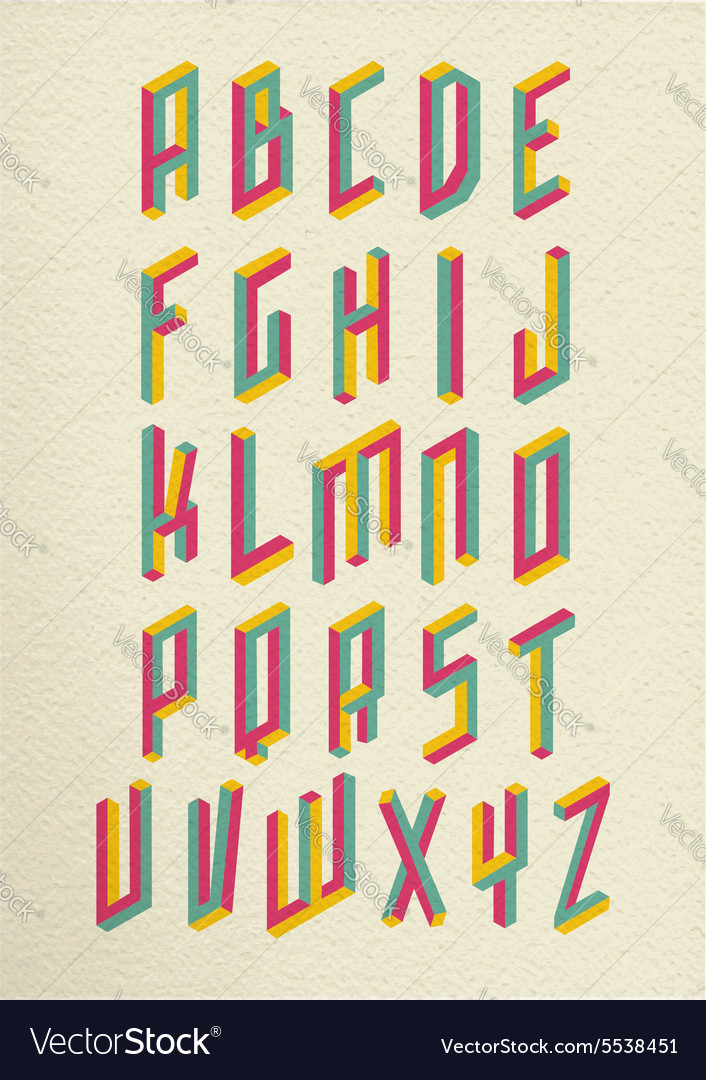 Retro 3d impossible shapes type font set vector