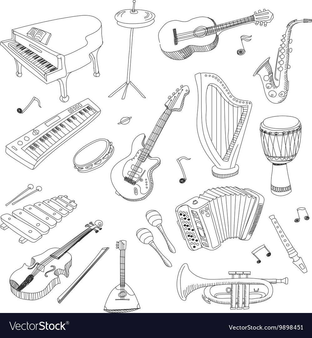Set of music instruments  hand drawn vector