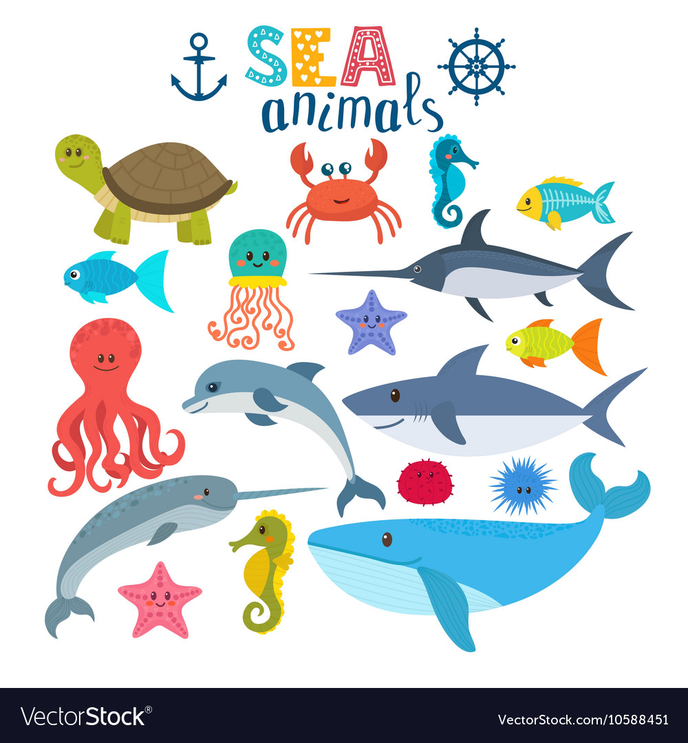 Set of sea creatures cute cartoon animals vector