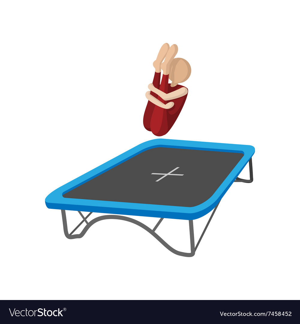 Acrobatics on the trampoline cartoon icon vector