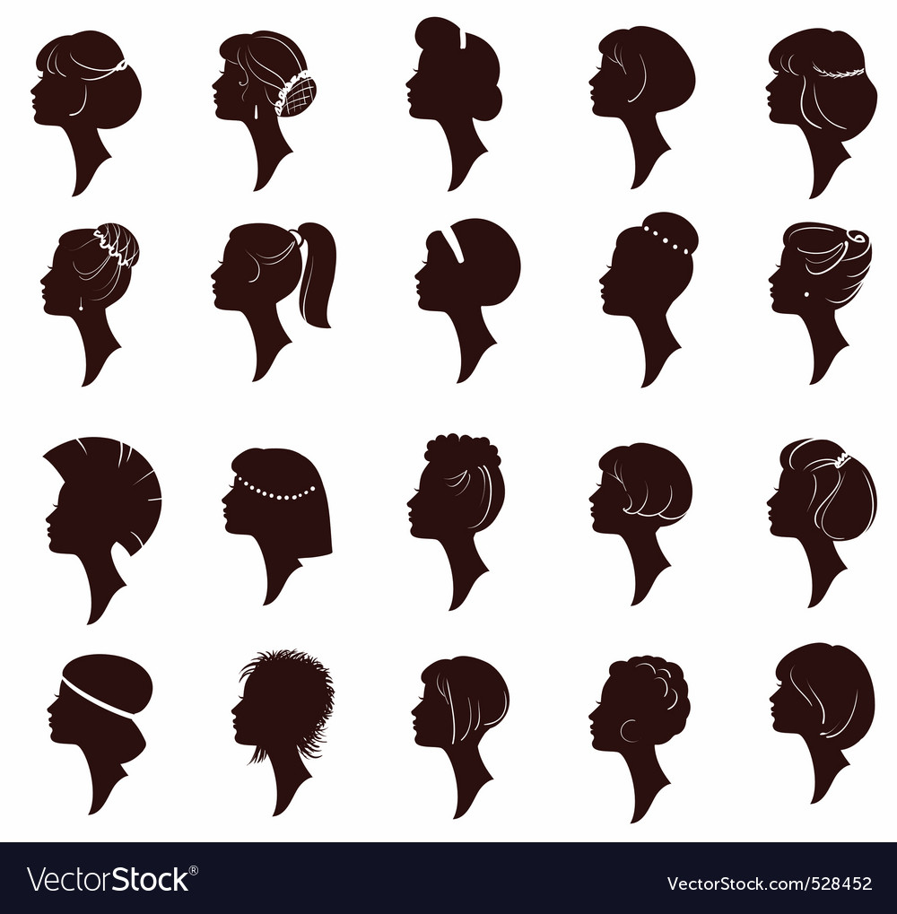 Hairstyles big set of black hair styling for woman vector