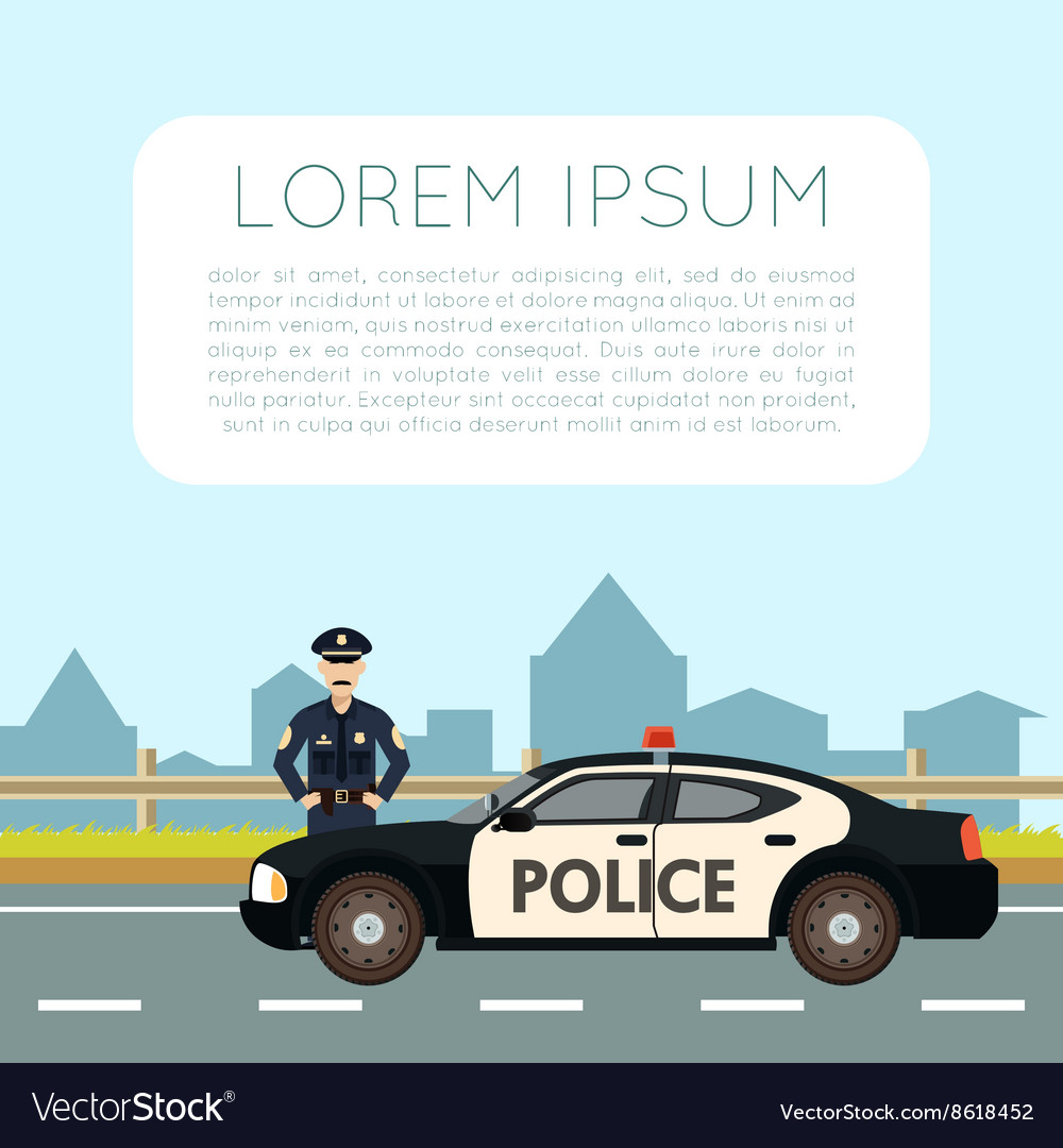 Police on the road banner1 vector