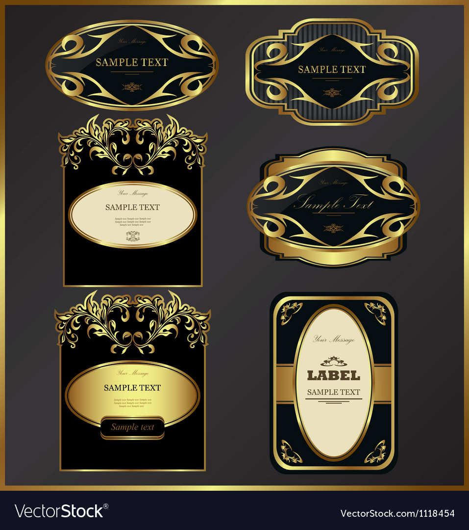 Goldframed labels vector