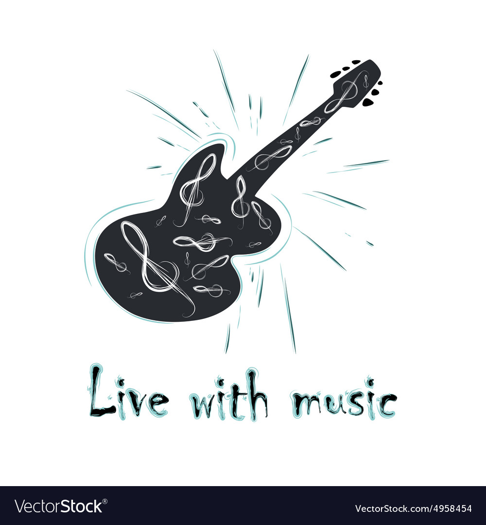 Grunge label with guitar vector