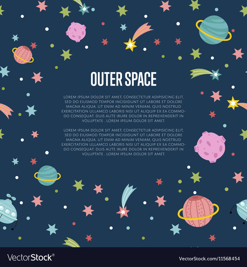 Outer space cartoon web template vector