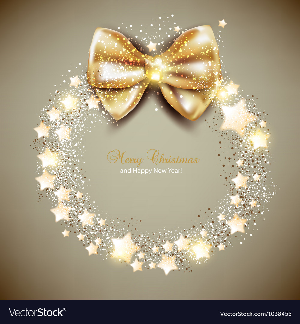 Elegant christmas wreath with stars and bow vector