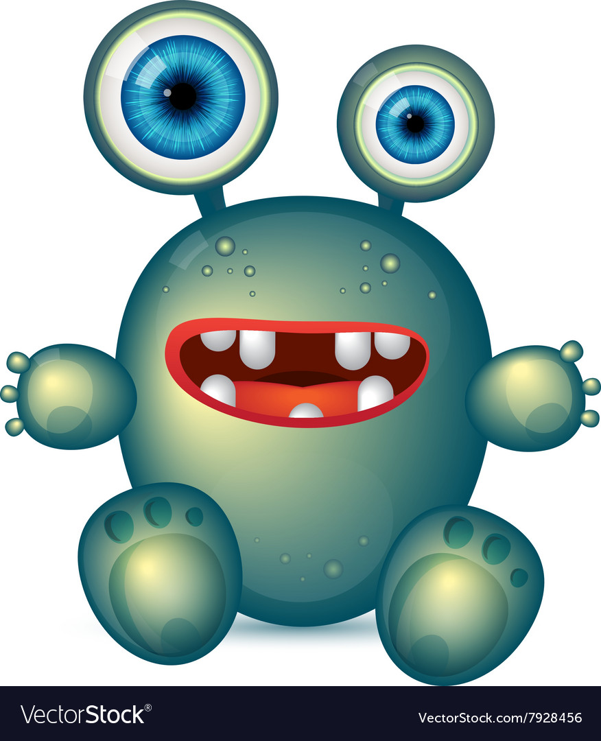 Green monster with big eyes and red mouth vector