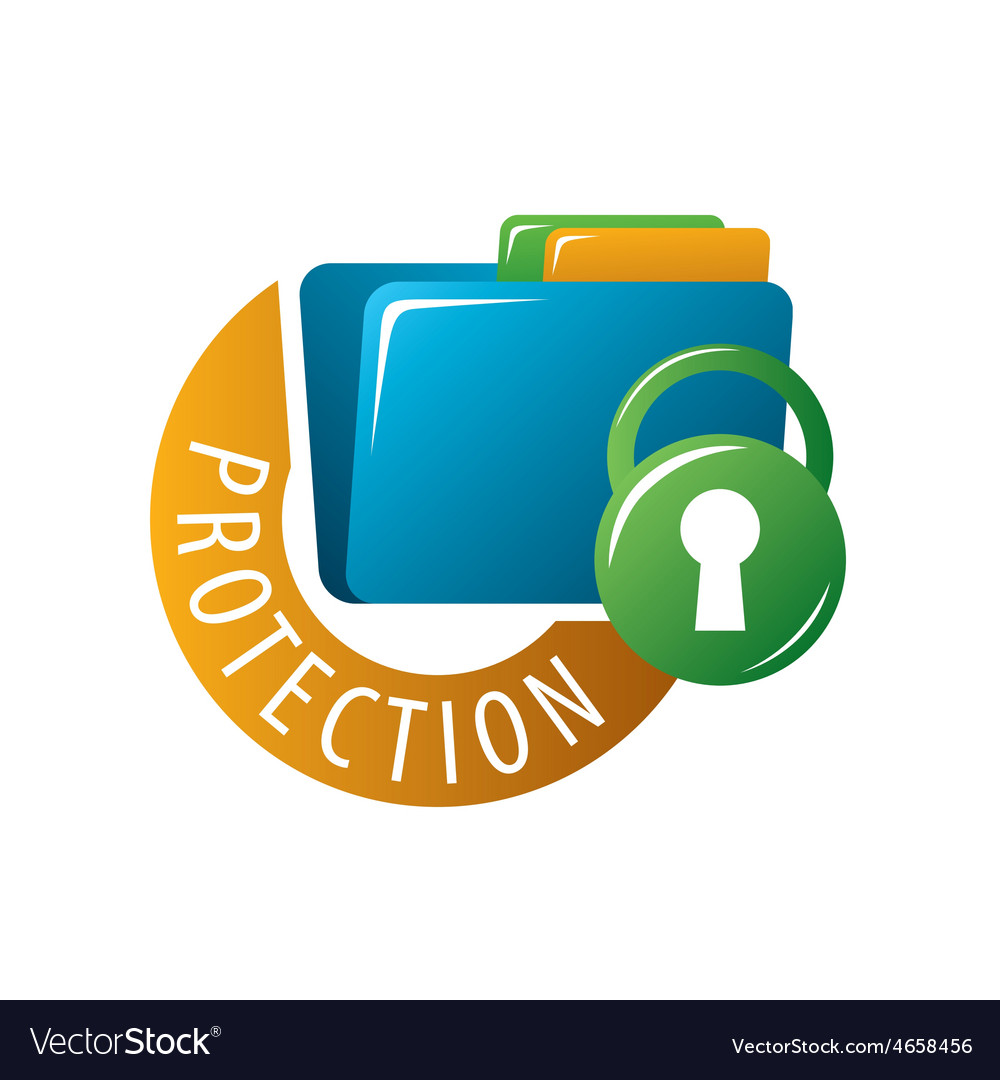 Logo folder with documents protected vector