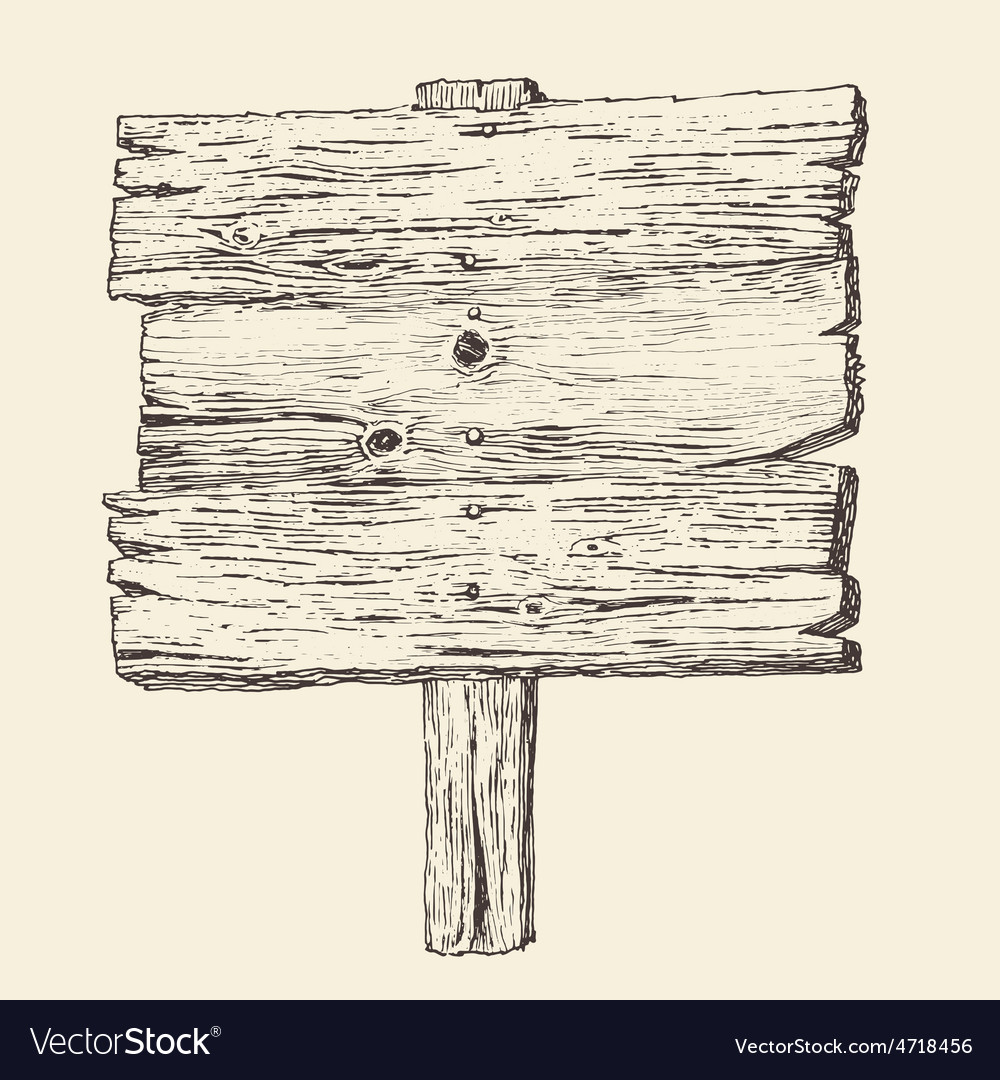 Wood signboard wooden sign vintage vector