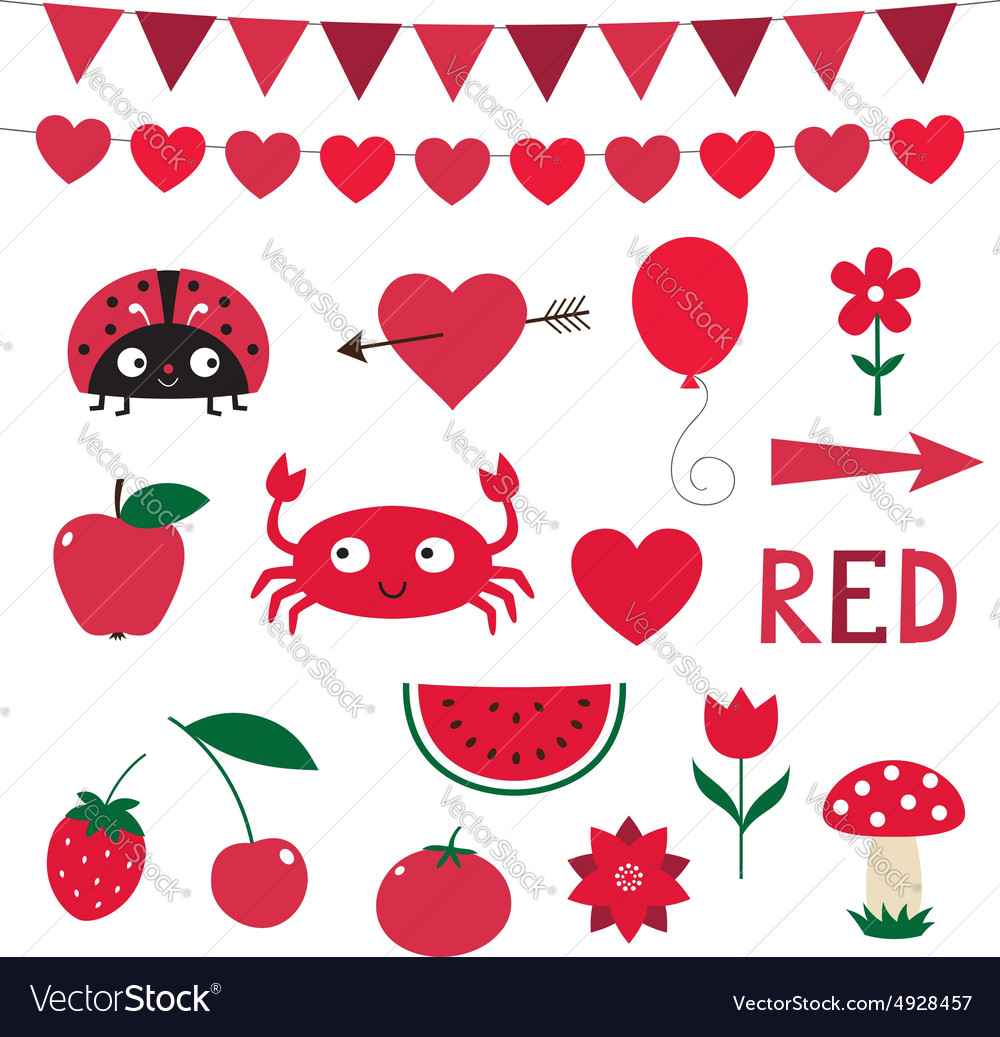 Elements in red color vector