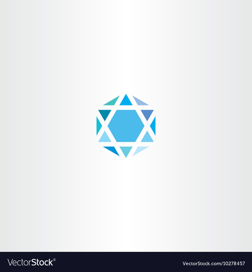 Geometric diamond hexagon blue icon star vector
