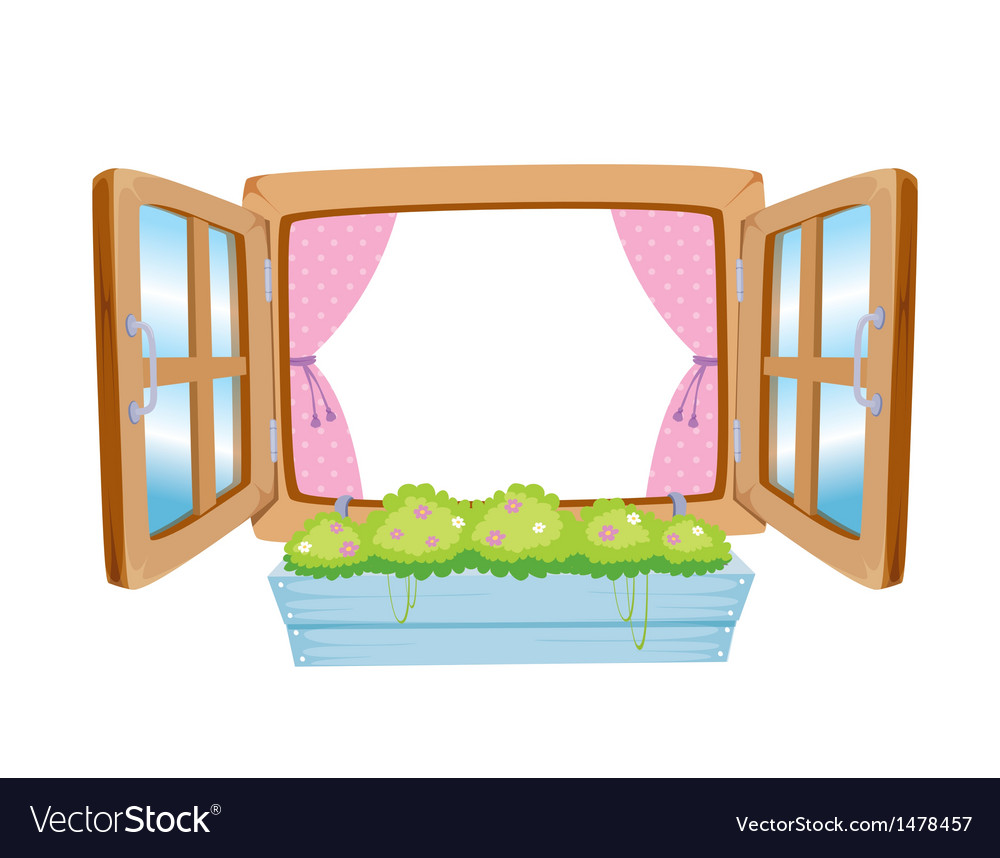 Wooden window vector