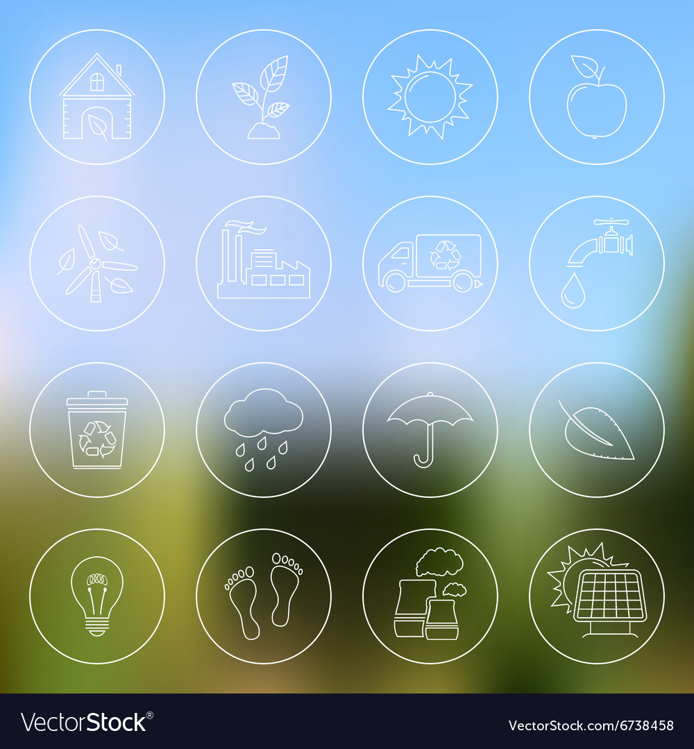 Ecology icons on blurred background vector