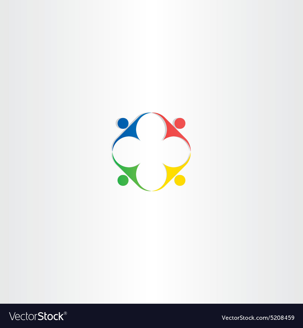 People teamwork square color icon design vector