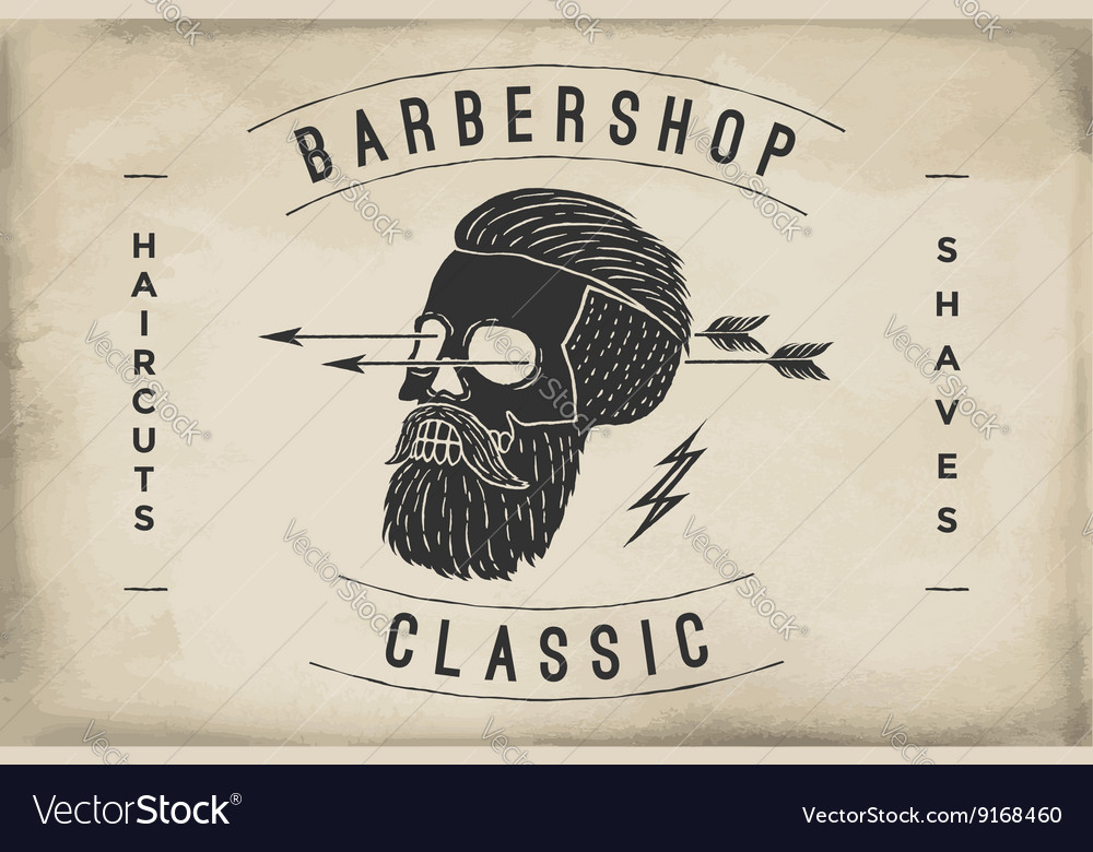 Poster of barbershop label on a beige paper vector