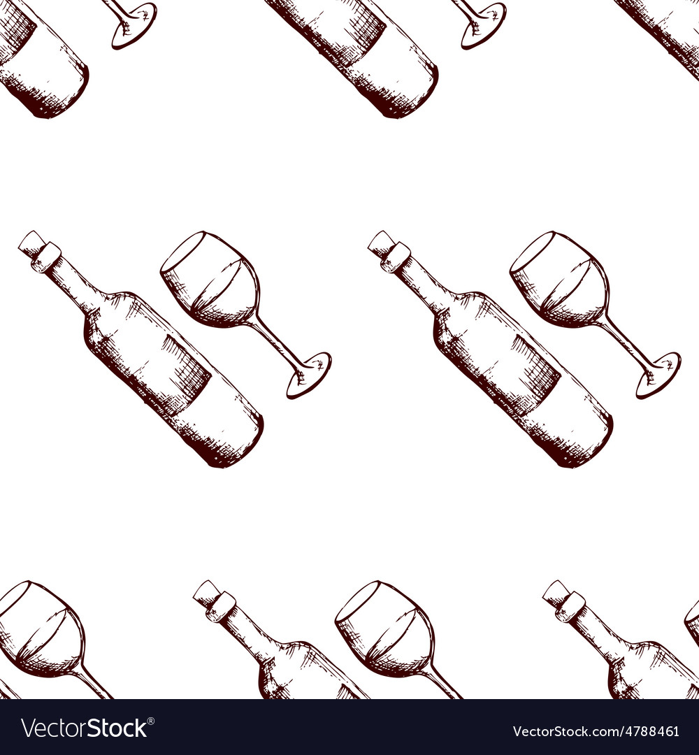 Seamless pattern with hand drawn wine vector