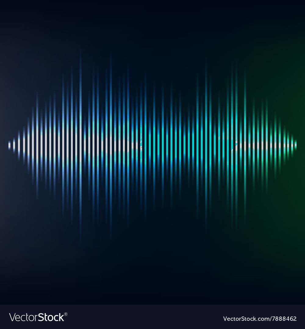 Blue sound wave on blackbackground eps10 vector